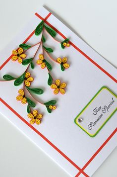 quilled tree branch with yellow flowers