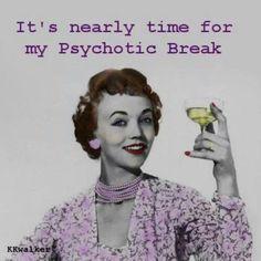 Psychotic Break Time discovered by bambamland Retro Humor, Vintage Humor, Funny Vintage, Haha Funny, Hilarious, Funny Stuff, Funny Shit, Random Stuff, Sarcastic Ecards