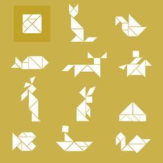 I love tangram. And before I show you our Tangrams, I have put my favorite forms together. Younger children can simply look at the solution. Kits For Kids, Projects For Kids, Tangram Puzzles, Diy Shows, Tiffany Glass, Puzzle Art, Paper Plane, Art Programs, Business For Kids