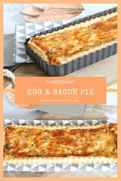 30 Minute Egg & Bacon Pie Have dinner on the table in 30 minutes with this easy egg and bacon pie – made from only 6 ingredients. Perfect for a quick weeknight dinner! The post 30 Minute Egg & Bacon Pie appeared first on Welcome! Quiche Recipes, Pastry Recipes, Brunch Recipes, Breakfast Recipes, Cooking Recipes, Egg Recipes For Dinner, Dinner Ideas, Egg And Bacon Pie, Egg Pie
