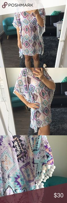 🌸🌸 Colorful Summer Tunic with Aztec Pattern New! Never worn. In excellent condition. Throw on over bikini 👙 Cute for pool party or lounging. Miken Tops Tunics