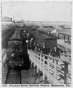 Flinders St station platforms with ramps. 1890