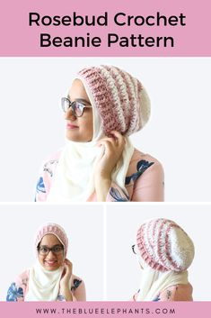 This crochet slouchy beanie pattern is perfect for Spring! This Rosebud Beanie is soft and breezier than most beanies,and great beginner crochet pattern! Crochet Slouchy Beanie Pattern, Easy Crochet Hat Patterns, Free Crochet, Crochet Ideas, Crochet Stitches, Crochet Projects, Knitting Patterns, Knitted Hats, Crochet Hats