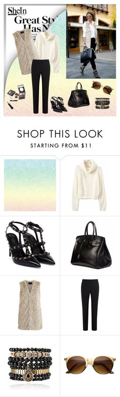 """Turtleneck Crop Beige Sweater"" by narcisaaa ❤ liked on Polyvore featuring Valentino, Hermès, VILA, Paul Smith Black Label, Samantha Wills, MAC Cosmetics, Sheinside and shein"