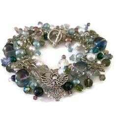 Silver Cluster Bracelet - Baubles Bracelet - Crystal Bracelet - Pearl Bracelet - Angel Bracelet - Winter Wonderland Bracelet - pinned by pin4etsy.com
