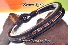 1B-767 BRAVO & CO Shell&  Leather Hematite Unisex Bangle Wristband Men Bracelet.
