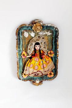 Vintage doll wall decor/ Vintage Mexican doll