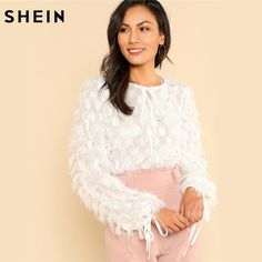 SHEIN Blouses 2018 Party Wear Knot Front Dot Jacquard Fringe Top Solid White Long Sleeve Womens Tops and Blouses