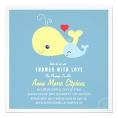 Cute Little Whales Baby Shower Invitation