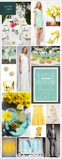 I love this yellow + aqua color combo...throw in a little spring green and I'm good to go!