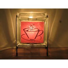 Coffee Lamp Glass Block lamp FREE SHIPPING upcycled handmade night... (€44) ❤ liked on Polyvore featuring home, lighting, red night light, glass block night light, glass block lights, red chili pepper lights and coffee shop