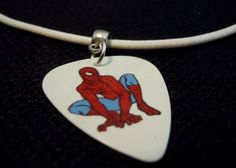Spiderman Guitar Pick on Rolled White Leather Cord Necklace by ItsYourPickToo on Etsy