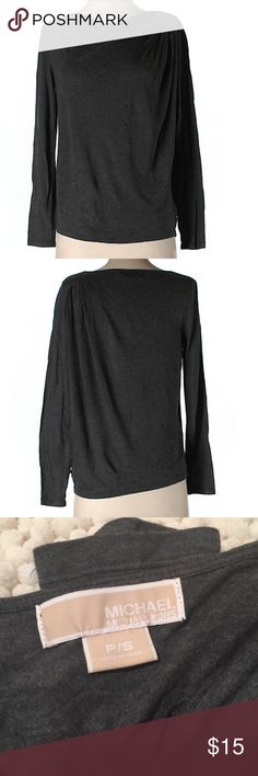 "Michael Michael Kors Long Sleeve Top MWOT- Michael Kors Top. Charcoal gray. 40"" chest and 21""long. Cowl neckline. Size PS MICHAEL Michael Kors Tops"
