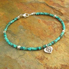 Turquoise Heishi Thai Hill Tribe Silver Bracelet by YarrowJewelry