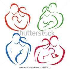 family set of icons in simple lines by baldyrgan, via ShutterStock