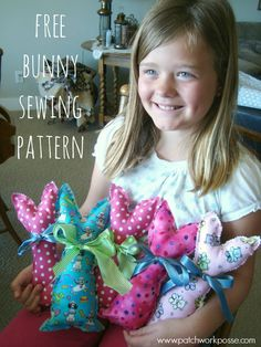 free bunny sewing pattern- love how simple it is and the pinking shears edge! looks like kids can sew too. would be a fun project