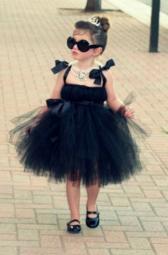 Little girl dressed as Audrey Hepburn, TOO CUTE!