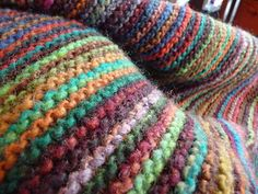 Knit Stitch Blanket from scraps....I have an obsession with the garter (or Knit) stitch