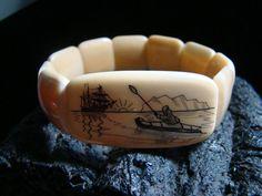 Scrimshaw Bracelet Vintage Antique Walrus Tusk by Fossils2Art, $199.00
