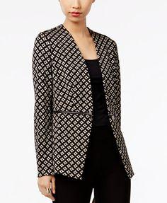 Grace Elements Printed Zipper-Detail Blazer - Jackets - Women - Macy's