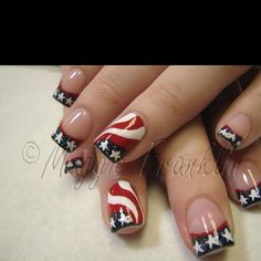 red white blue nail | Red White & Blue finger nails, really cute! | Patriotic Nails