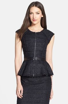 Milly Metallic Tweed & Leather Top available at #Nordstrom