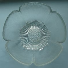 Vintage glass dessert bowl ~ five petal flower shape ~ textured 15cm diameter