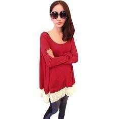 Allegra K Women Beige Tassel Hem Scoop Neck Long Sleeve Loose Shirt Red S Allegra K, http://www.amazon.com/gp/product/B007WASFZS/ref=cm_sw_r_pi_alp_1uGGqb0PGJAAS