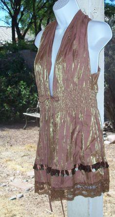 Sleeveless Metallic Mocha Brown Tunic Medium Summer Fashion VGC ROMY #ROMY #Tunic #Clubwear