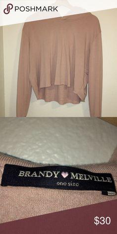NWOT blush pink Brandy Melville cropped hoodie Cute cropped hoodie from brandy! Only worn once Brandy Melville Tops Sweatshirts & Hoodies