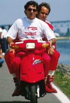 Ayrton senna and gerhard Berger. Teammates and epic pranksters.