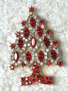 Clear & Red Gold Plated Christmas Tree Pin Brooch