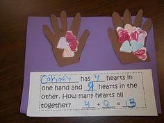 Another cute math idea.so many hearts in each hand, how many in all.the kids fill in the sheet at the bottom - Great math idea for Valentine's Day. Kindergarten Class, Preschool Math, Fun Math, Math Activities, Teaching Math, Math Art, Winter Activities, Teaching Ideas, School Holidays