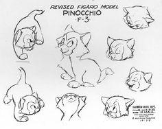 Vintage Disney Alice in Wonderland: Goebel DIS 84 - Dinah Disney Character Sketches, Disney Sketches, Disney Drawings, Character Model Sheet, Cat Character, Character Design, Figaro Disney, Principles Of Animation, Disney Collage