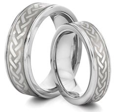 His  Hers 8MM/6MM Tungsten Carbide Silver Celtic Knot Wedding Band Ring Set (Available Sizes 4-14 Including Half Sizes): Wedding gift