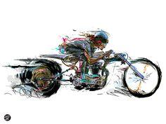 Shinya Needle Art Print by Doozzoo - X-Small Cool Car Drawings, Art Drawings, Art Moto, Pin Up, Biker Tattoos, Harley Davidson Posters, Bike Illustration, Bobber Motorcycle, Drawing Projects