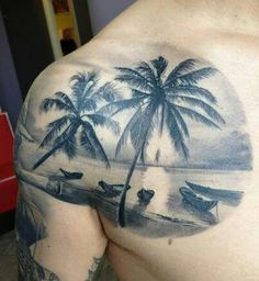 Beach scene tattoo - but with bright colors