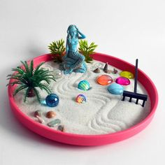 Mermaid Statue Zen Garden // Ocean Beach Decor // Meditation // Goddess Shrine // Seashells // Aura Stones // DIY Kit / Fairy Garden Pink