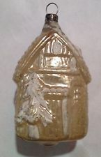 Antique Vintage House with trees Glass German Feather Tree Christmas Ornament