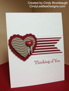handmade card ... Simple and elegant! ... red and kraft on white ... three part focus includes sentiment ... like the balance ... Stampin' Up!
