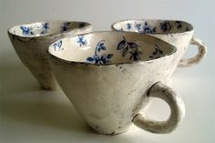 maria kristofersson blue and cream ceramic cups Pottery Mugs, Ceramic Pottery, Ceramic Cups, Ceramic Art, Porcelain Ceramic, Cerámica Ideas, Decor Ideas, Pinch Pots, Paperclay