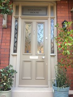 Grand Victorian front door with leaf leaded glazing in Chorlton. Grand Victorian front door with leaf leaded glazing in Chorlton. Front Door Porch, Porch Doors, Front Porch Design, Wooden Front Doors, Exterior Front Doors, House Front Door, Painted Front Doors, House Doors, House With Porch