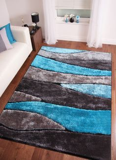 2-Piece Set | Handmade Vibrant Gray with Blue Shag Area Rug with Hand Carved Des