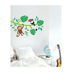 Muursticker Jungle Dieren - De muursticker zorgt voor een echte jungle sfeer in de kinderkamer. De tak zoals afgebeeld is 1 m breed. De stickers zitten op 3 vellen van 60 cm (hoogte) x 40 cm (breedte).