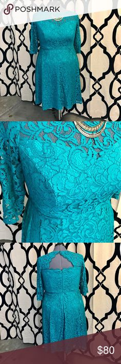 Teal Adrianna Papell Peekaboo Back Dress Only worn once, this dress is sexy and cute - for any occasion. The lace makes this something extra special, and the peekaboo/keyhole back is a nice touch when you turn around. The 3/4 sleeve make you comfortable, and modest. It also means you might not need a sweater with this beautiful dress. But this whole dress really wows with the gorgeous teal colour - that pops instantly when you walk into the room. Adrianna Papell Dresses