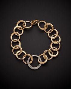 18K Italian Gold 1.10 ct. tw. Diamond Link Bracelet is on Rue. Shop it now.