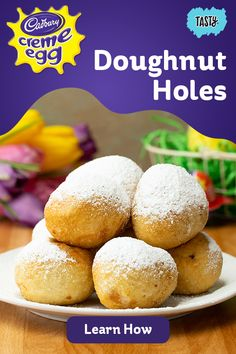 Easter just got a whole lot better with these yummy CADBURY CREME EGG doughnut holes. Donut Recipes, Baking Recipes, Dessert Recipes, Easter Recipes, Holiday Recipes, Instant Pot, Delicious Desserts, Yummy Food, Crockpot