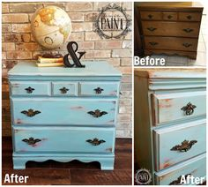 For Love of the Paint easy farmhouse style dresser tutorial : Layered and distressed Annie Sloan Chalk Paint in Provence, Olive, Scandinavian Pink, and Country Grey - but could use any colors for your DIY / upcycle home decor project! Use up your remnants and create a gorgeous shabby chic / modern farmhouse style!
