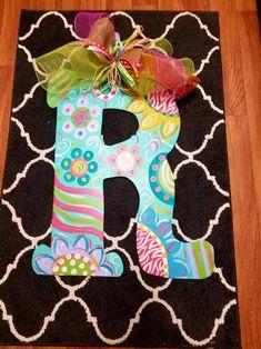 Colorful Initial letter Door hanger flowers and swirls Letter Door Hangers, Initial Door Hanger, Painting Wooden Letters, Puff Paint, Burlap Bows, Initial Letters, Swirls, Hand Painted, Lettering