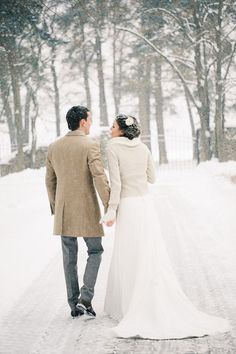 Like this dressed down but classy look for the guy if he wants in too ;) - winter wedding